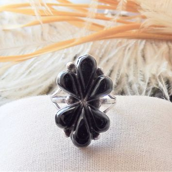 Vintage Signed Native American Zuni Sterling Silver Black Onyx Ring Size 7.25