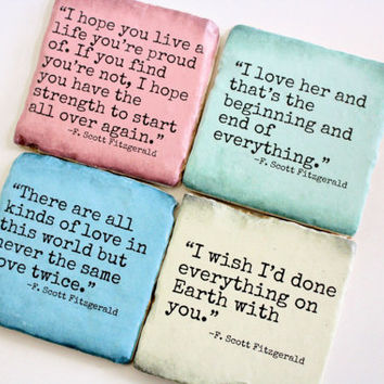 F. Scott Fitzgerald Literary Quote Coasters. *Custom Colors Available*