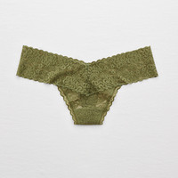 Aerie Vintage Lace Thong, Rugged Green