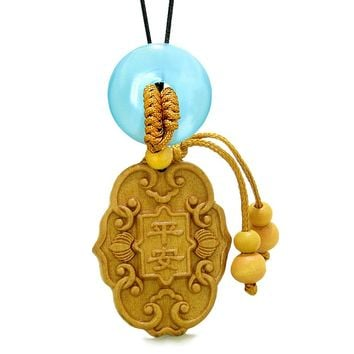 Feng Shui Lucky Symbols Car Charm Home DecBlue Simulated Cats Eye Donut Protection Magic Amulet