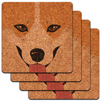 Pembroke Welsh Corgi Face Pet Dog Low Profile Cork Coaster Set