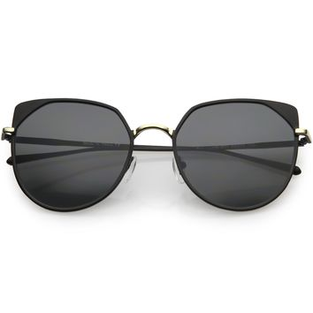 Women's Modern Round Cat Eye Mirrored Lens Metal Sunglasses C836