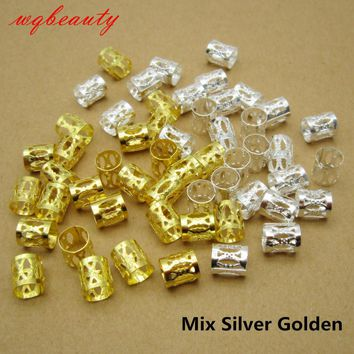 100Pcs/Lot Golden/Silver/Mix Silver Golden hair dread Braids dreadlock Beads adjustable cuff clip approx 7.5mm hole