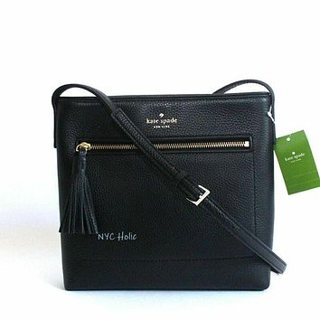 New Kate Spade New York Chester Street Dessi Leather Crossbody Bag Black