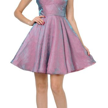 Mauve/Gold Short Homecoming Dress with Spaghetti Straps