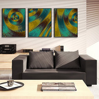 SAND AND SEA Fractal Art Prints - Set of Three frameable prints for home or office - Turquoise and Gold Wall Grouping