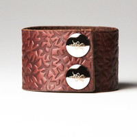 Chestnut Brown Leather Cuff  - Embossed with Thorns - Nickel Fasteners - 1.5 Inches Wide