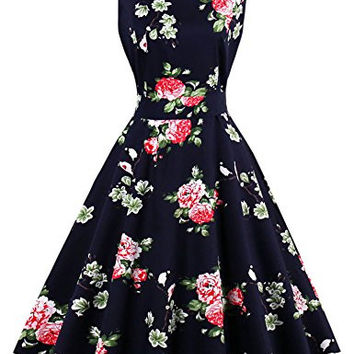 Murimia Women's Vintage 1950's Floral Garden Picnic Dress Party Cocktail Swing Dress