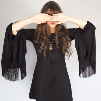 Black Flare Fringe Sleeved Witchy Dress