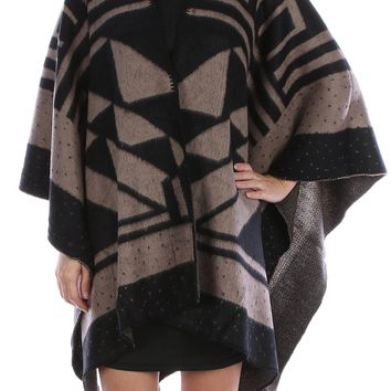 Black Tribal Pattern Ruana Poncho Scarf