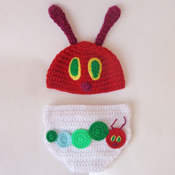 Very Hungry Caterpillar Hat With Diaper Newborn  Crochet Photo Prop Baby Halloween Newborn Photography prop, newborn boy, newborn girl