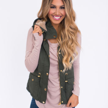 Hooded Faux Fur Vest- Olive