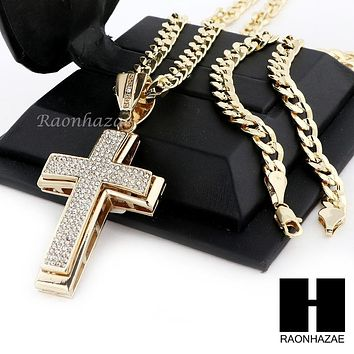 MENS ICED OUT LARGE CROSS PENDANT & DIAMOND CUT CUBAN LINK CHAIN NECKLACE NN50