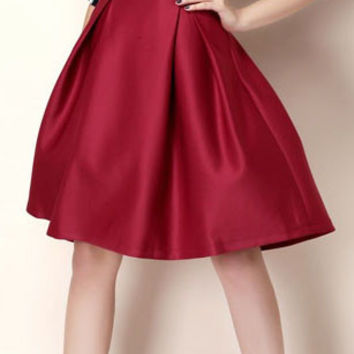 Wine Red High Waist A-Line Mini Skater Skirt