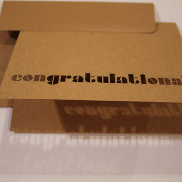 Modern delicate laser cut Congratulations card with funky stencil font -personalize this 4x6 recycled craft paper blank card with your words
