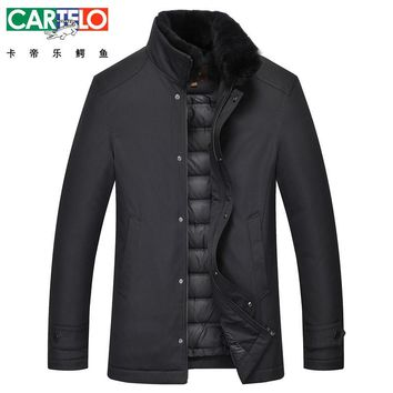 Cartelo/Brand Thick Winter Down Jacket Men Rex Rabbit Fur Collar Casual Clothing Long Male 90% White Duck Down Coat For Male