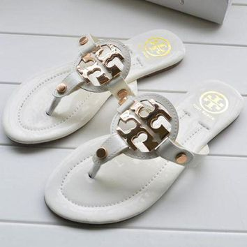 Tory Burch Women Trending  Fashion Casual Logo Sandal Slipper Shoes White G