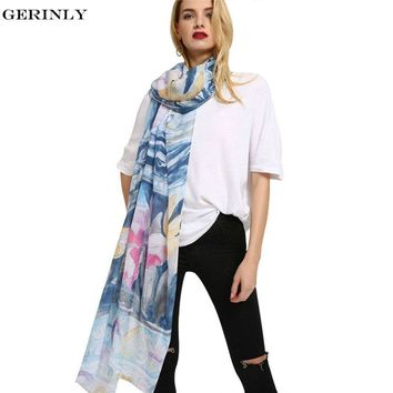 New Scarf Women Summer Cotton Hijab Lilium Print Shawls Scarves Large Pashmina Viscose Bandana Echarpe Foulard for All Season
