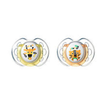 Tommee Tippee BPA Free 0-6 Months Orthodontic 2 Pack Pacifier - Crunch and Roar (Giraffe/Tiger)