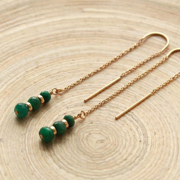 Emerald gold filled earrings. Threader U top chain earrings with genuine Emerald beads. May Birthstone jewelry. Earrings trends for 2015