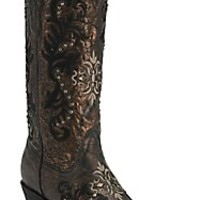 Corral Women's Bronze/Black w/Cream & Black Embroidery & Studs Snip Toe Western Boots