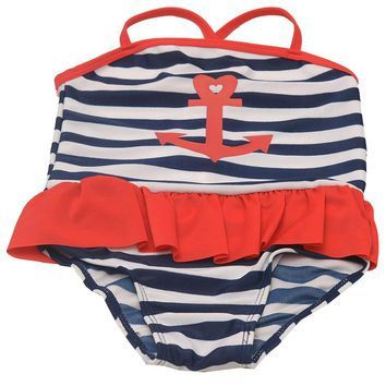 Girls Red Navy Stripe Anchor Sailor One Piece Swimsuit 2T-6X - Free Shipping