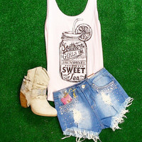 SUNSHINE AND SWEET TEA TANK IN BLUSH