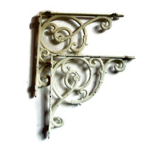 Vintage Cast Iron Self Brackets, Architectural Salvage, Scrolls, Shabby Chic, Home Decor, Wall Brackets, Country