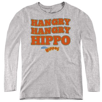 Hungry Hungry Hippos Womens Long Sleeve Shirt Hangry Athletic Heather