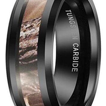 CERTIFIED 8mm Black Tungsten Carbide Men's Ring Camo Camouflage Hunting Wedding Band