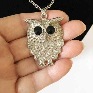 Vintage Owl Necklace, Silver Tone Owl Pendant with Black Eyes, Dome Designed Silver Tone Owl Necklace