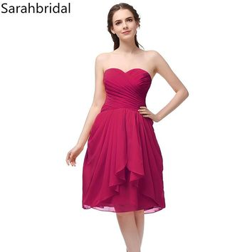 Simple Draped Coral Chiffon Bridesmaid Dresses Shorter 2017 Hot Sale Girls Party Prom Gowns Sweetheart Puffy Vestidos SD247