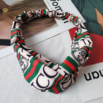 GUCCI Women Accessory Striped Letters Knot Hair Card Hair Bands
