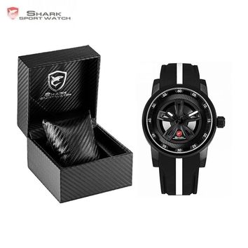 Luxury Leather Box Thresher SHARK Sport Watch Racing Layer 3D Wheel Design Dial Crown Quartz Silicone Band Men Watches/SH501-504