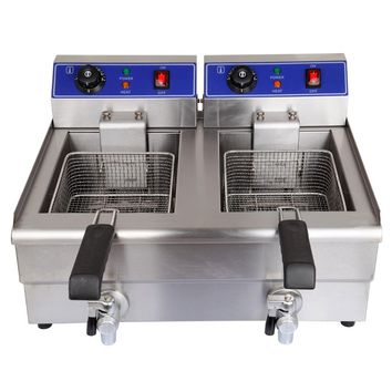 20L Deep Fryer Commercial Countertop Stainless Steel Dual Tank- Ship in USA only Estimated Delivery Time: 9-18 days