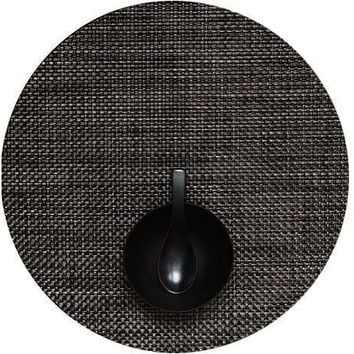 CHILEWICH Basketweave Round  Placemat S/4 | Carbon