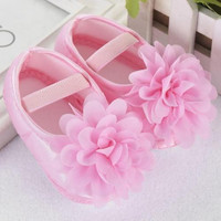0-6 Months Baby Girl Pink Shoes with Chiffon Flower