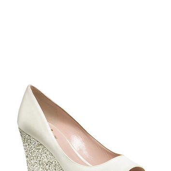 Kate Spade Radiant Wedges Ivory/Silver