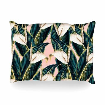 "mmartabc ""Botanical Flowers Vintage"" Pink Green Nature Floral Illustration Digital Oblong Pillow"