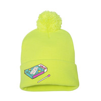 It's LIT Matchbox Enamel Pin Neon Pom Pom Beanie