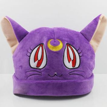 1pcs Sailor moon cosplay luna cat plush hat purple  anime figure sailormoon halloween costume toy accessories