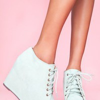 99 Tie Wedge - Mint Suede - NASTY GAL