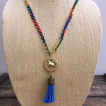 Fox and Blue Tassel Tatted Necklace