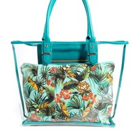 New Look Clear Beach Bag with Printed Pouch