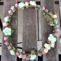 Pink Peach and Mint Flower Crown