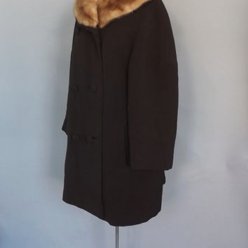 Vintage Kaufmanns 1950s 60s Brown Wool Blonde Fur Mink Collar Swing Coat Outerwear Winter Hollywood Glamour Mad Men Medium Large Peacoat