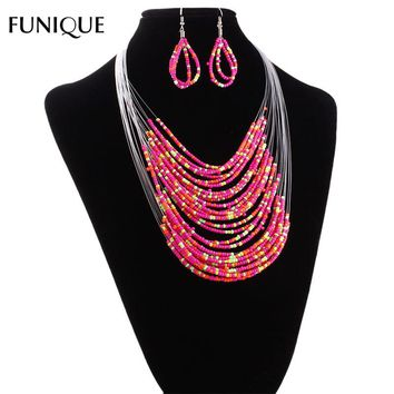 2017 FUNIQUE Multilayer Fashion Wedding African Beads Jewelry Set For Women Chain Chunky Indian Wedding Necklace Earring Jewelry