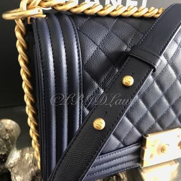 NWT CHANEL 2017 Boy Bag Navy Blue Caviar Old Medium GOLD SOLDOUT NEW & AUTHENTIC