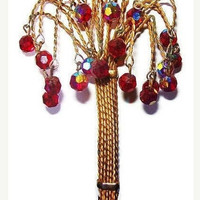 """Crystal Tree Brooch Dangling Red Purple Beads Gold Wire Wrapped 4.5"""" Vintage"""