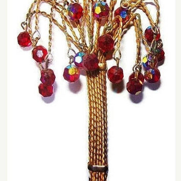 "Crystal Tree Brooch Dangling Red Purple Beads Gold Wire Wrapped 4.5"" Vintage"